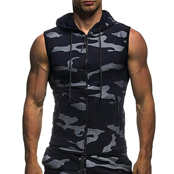 Men Zip Hoodie Vest Muscle Bodybuilding Gym Tank Tops Sweater T-Shirt Sleeveless Pullover & Sweaters Angelsport