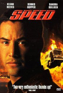 A young cop must prevent a bomb exploding aboard a city bus by keeping its speed above 50 mph.  Director: Jan de Bont Writer: Graham Yost Stars: Keanu Reeves, Dennis Hopper, Sandra Bullock