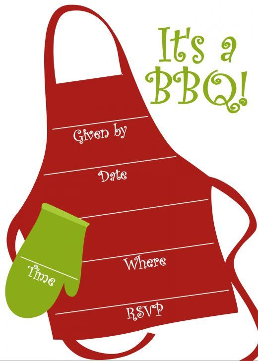 free bbq party invitations templates 2018 pinterest apron