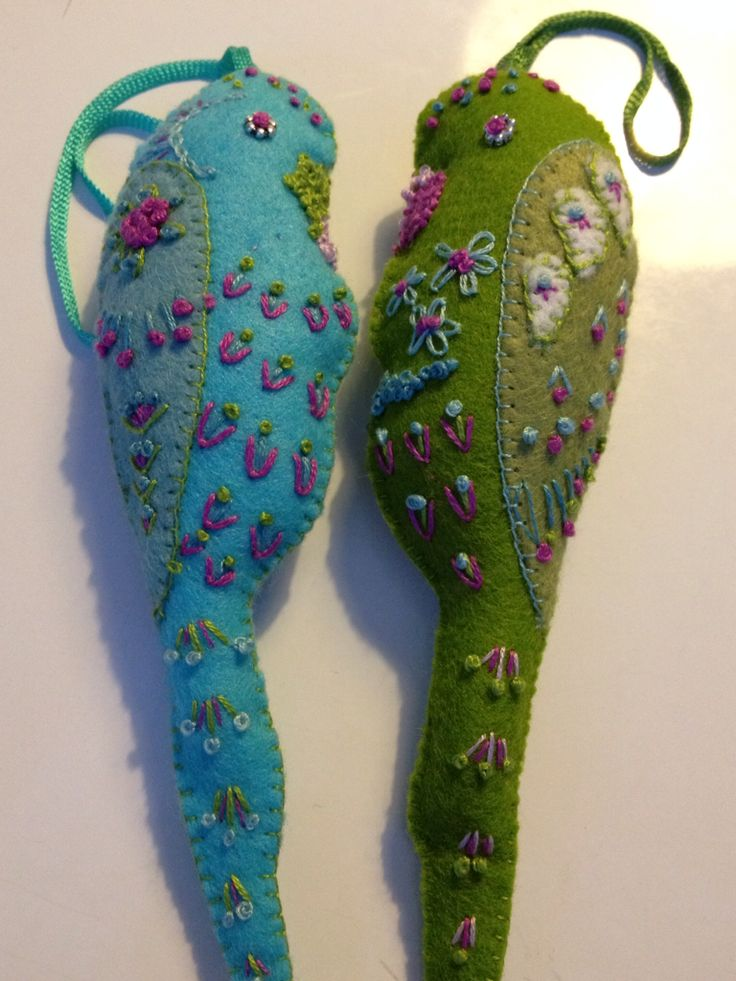 Felt Bird Hand Embroidered bright coloured felt Budgies for the Christmas tree. 5 inches high. By Sandra Moorhouse x