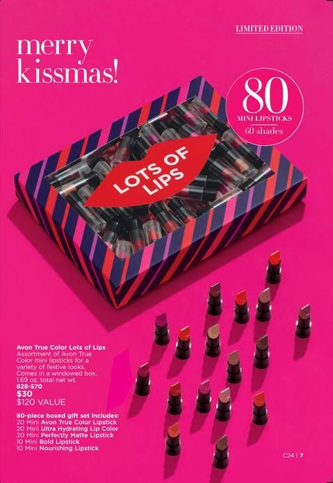 It's a very Merry Kissmas with this 80-piece assortment of Avon True Color minis that's perfect for a variety of festive looks. A $120 value for just $30!  Gift Set Includes: • 20 Mini Avon True Color Lipstick • 20 Mini Ultra Hydrating Lip Color • 20 Mini Perfectly Matte Lipstick • 20 Mini Bold Lipstick • 10 Mini Nourishing Lipstick  #Avon #AvonRep #Makeup #Cosmetics #Lipstick #Gifts #GiftSet #Holiday #MerryKissmas…