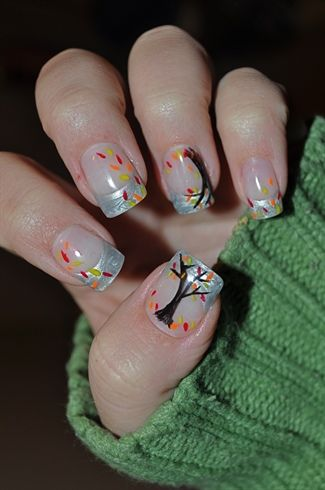 fall themed french manicure