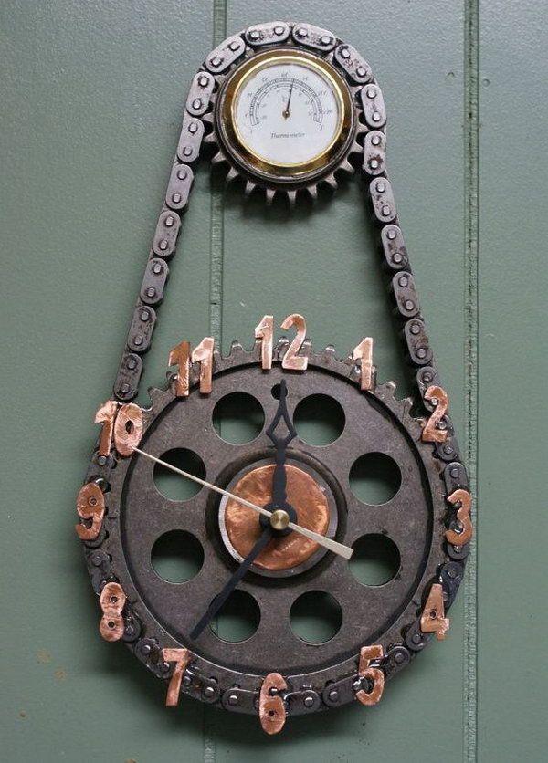 Clocks Made from Repurposed Materials http://hative.com/man-cave-stuff-ideas/