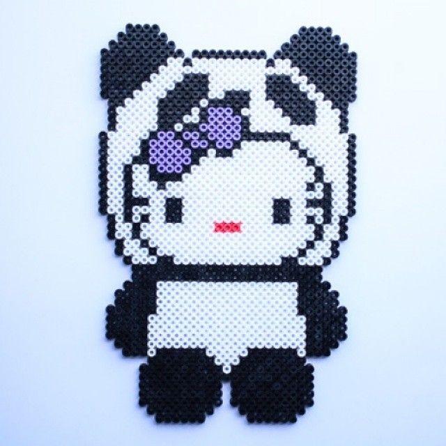 Panda Hello Kitty hama perler beads by littlemissproductive - 07/10/2014
