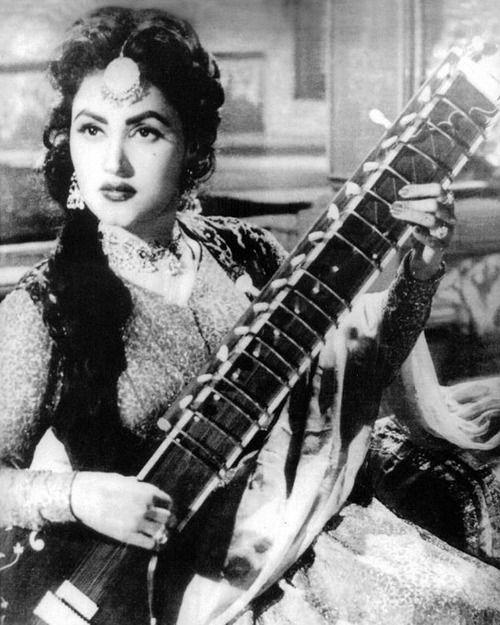 Noor Jahan with sitar