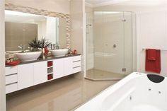 Gold Coast Unique Homes custom design and build prestige homes. #luxuryhomes #bathrooms #dualbasins #shower