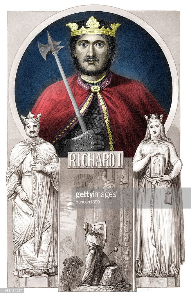 Vintage engraving from 1859 of King Richard the First, also known as the Lionheart was King of England from 1189 to 1199. One of the leaders of the Third Crusade he was a great warrior king.