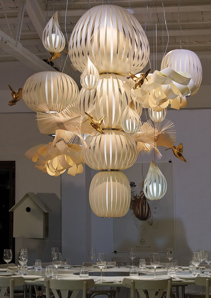 LZF Lamps | Candelabro, Suspension Lamp. Superagents Symposium | Wood touched by Light | Handmade Wood Lighting since 1994
