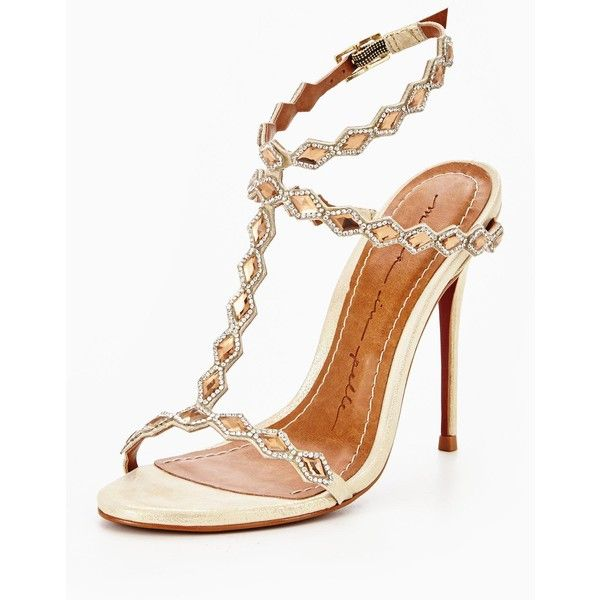 Moda In Pelle Moda In Pelle Santona Diamond Trim Barely There Sandal ($165) ❤ liked on Polyvore featuring shoes, sandals, leather footwear, leather shoes, leather sandals, leather heeled sandals and genuine leather shoes