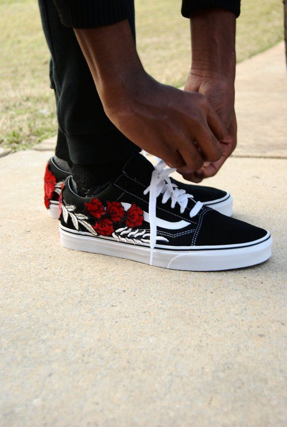 36d5fd7caa Custom Rose Old Skool Vans Sneakers Shoes vans custom vans