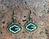 Green Bay Packers, Native American inspired peyote stitch beaded earrings.