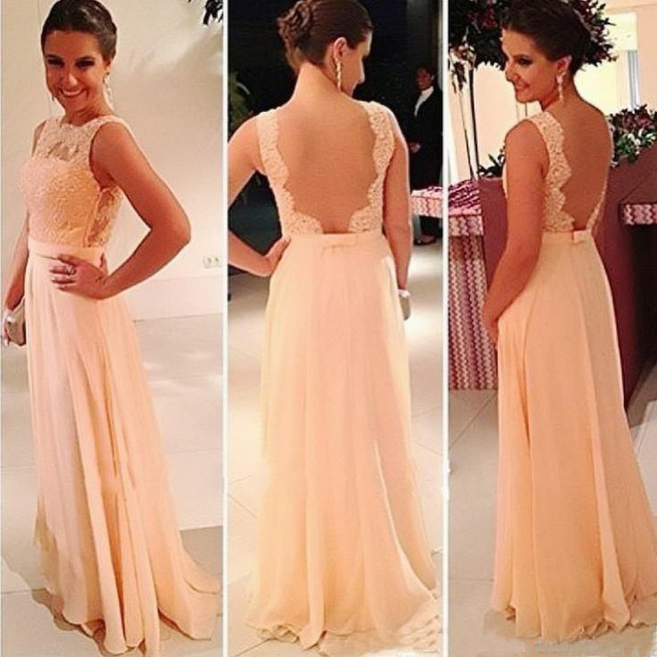 Pretty Morden Lace Top Seen Through Back Cheap Prom Dress, Chiffon Long Bridesmaid Dress, WG66