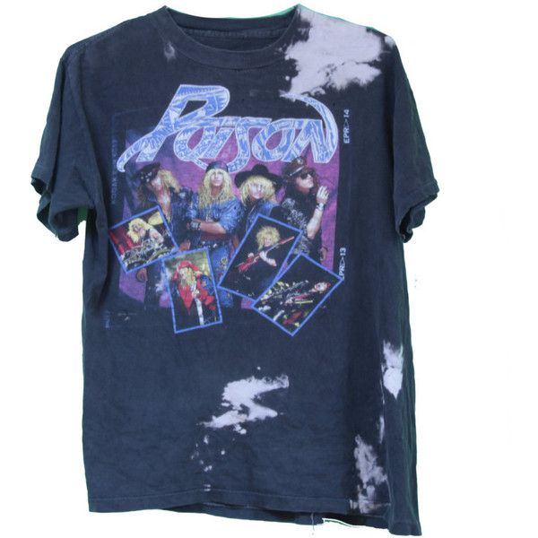 """1988 Poison Band T-shirt """"Open up and say Ahh"""" Glam Metal Distressed... (€47) ❤ liked on Polyvore featuring tops, t-shirts, shirts, tee's, distressed t shirt, vintage t shirts, destroyed t shirt, blue checkered shirt and blue t shirt"""