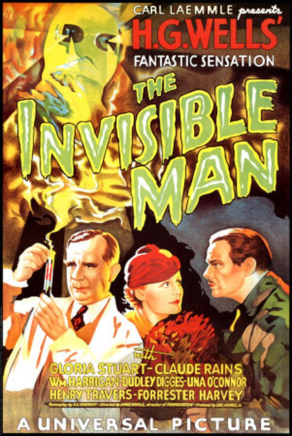 The Invisible Man (1933) - A scientist finds a way of becoming invisible, but in doing so, he becomes murderously insane. - - Movie posters from classic horror movies Mais