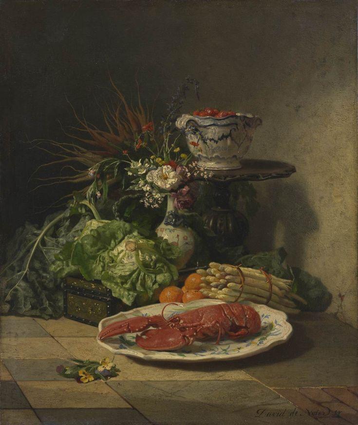 David De Noter, Zátiší se zeleninou a humrem, 1857
