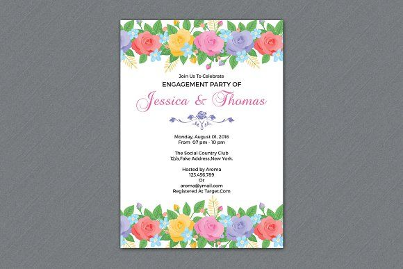 Engagement Party Invitation Template by Wedding Templates on @creativemarket