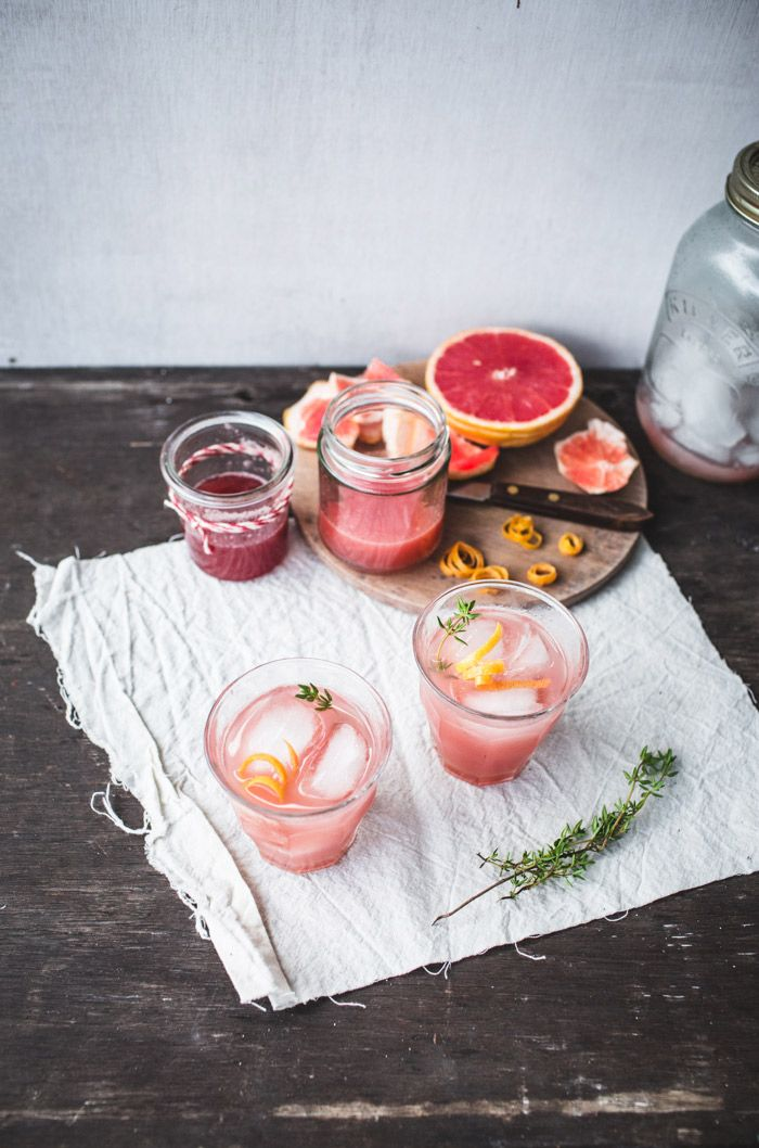 Rhubarb Grapefruit and Thyme Cocktails