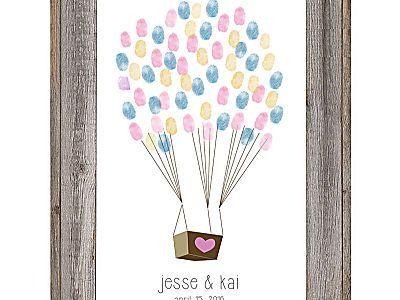 Downloadable fingerprint balloon guestbook