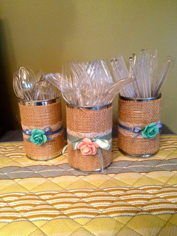 I will custom decorate tin cans, mason jars, candle holders, glass, plastic, metal or other containers especially for you. These shabby chic
