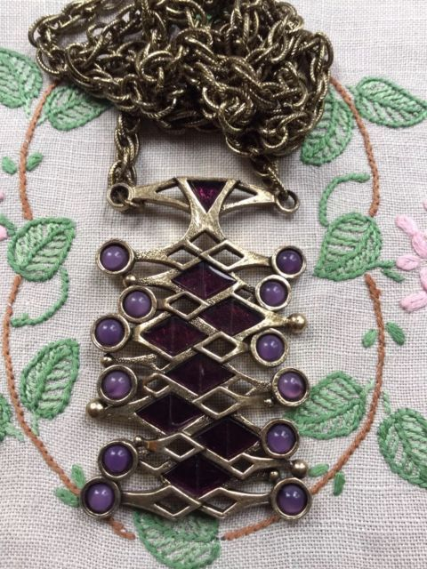 Vintage Miracle Retro Abstract Necklace Pendant Chain Purple Stones Costume | eBay