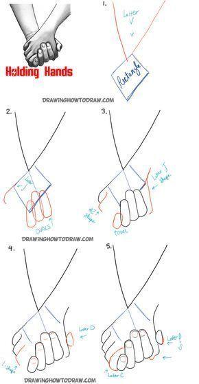 Voici les étapes à suivre pour dessiner deux personnes qui se tiennent la main: