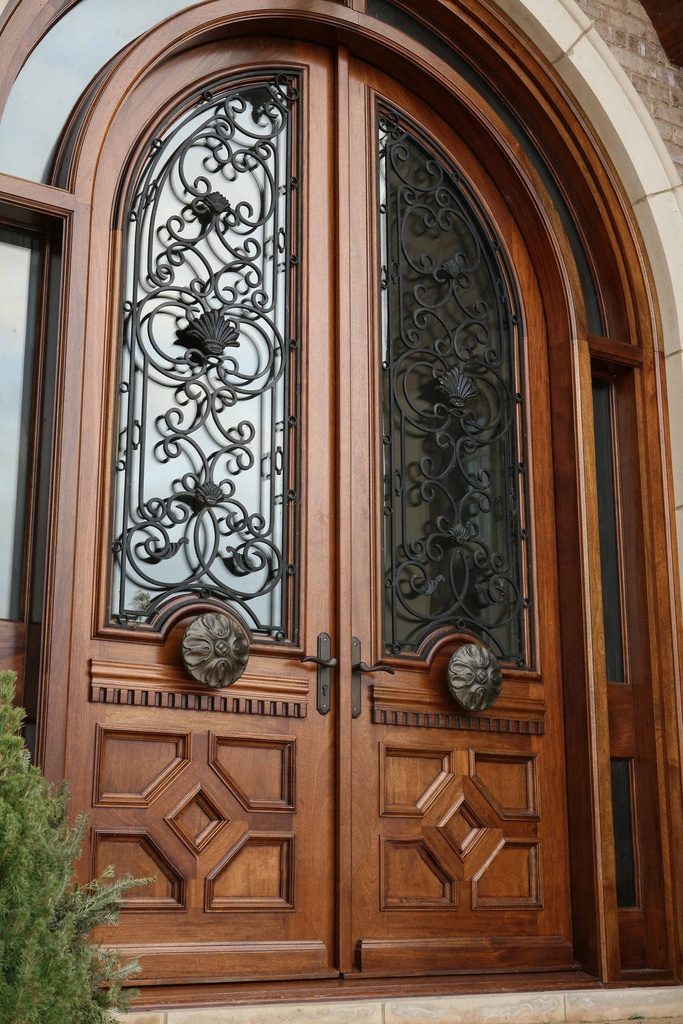 Borano provence solid mahogany double door with iron grill for Insulated double doors