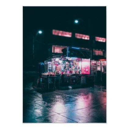 urban storefront at night moody hipster poster - dorm decor gift ideas presents diy personalize