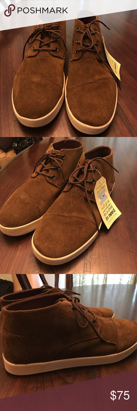 TOMS SZ 11 PASEO MID SUEDE BROWN lace up 🎓⭐️🎓🎓COLLEGE FUNDRAISER 🎓⭐️🎓🎓TOMS SZ 11 PASEO MID TOP BROWN SUEDE lace up-THANKS FOR YOUR SUPPORT---PLEASE NOTE THESE ARE NEW WITH OUT ORIGINAL BOX---THESE ARE NEW WITH TOM TAG ATTACHED AND PLASTIC ZIP TIE --NOTE BRAND NEW NEVER USED TOMS Shoes Chukka Boots