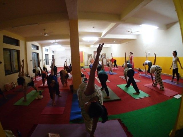 Students in asana class