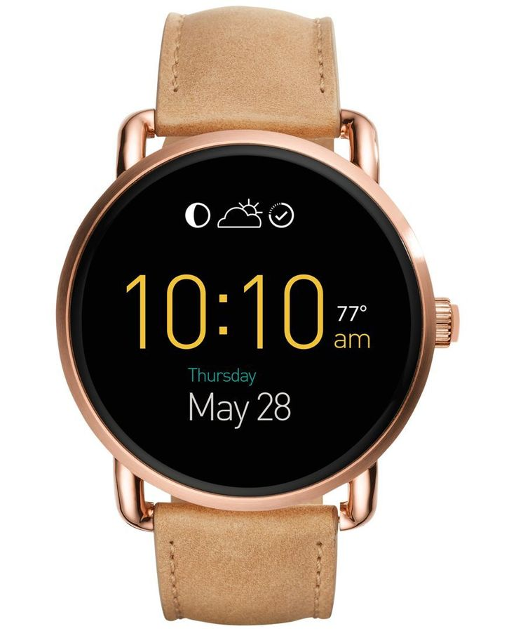Look cool and stay on track with this exceptional light brown leather strap Q Wander smart watch skillfully designed by Fossil. | Smart watch movement | Features include bluetooth connectivity, activi