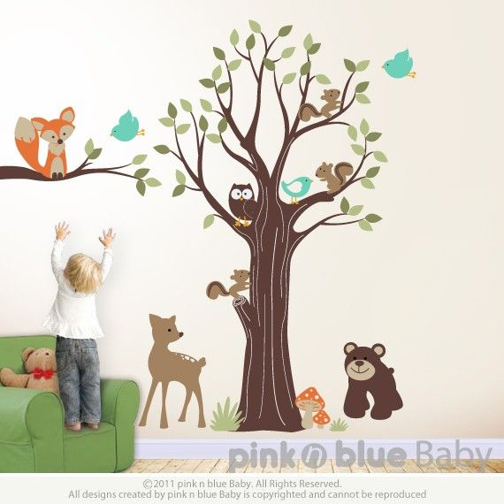 Adorable Animal Friends with Tree - Nursery Wall Sticker Decal.