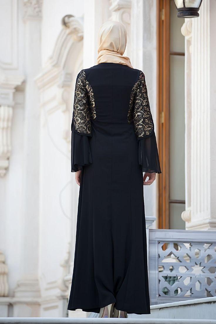 Tesettürlü Abiye Elbise - Siyah Elbise