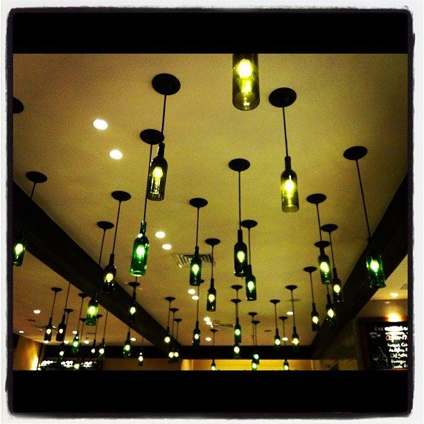 Wine bottles lamps as decor object