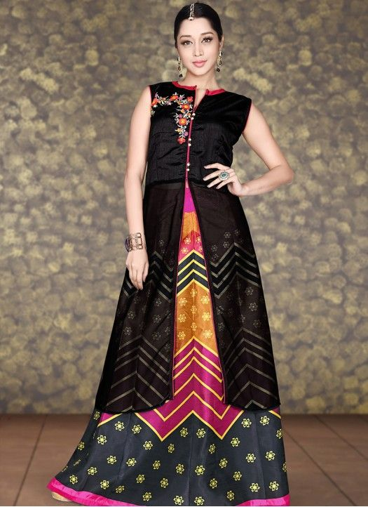 New Arrival Black And Multi Color Banglori Georgette Indo Western