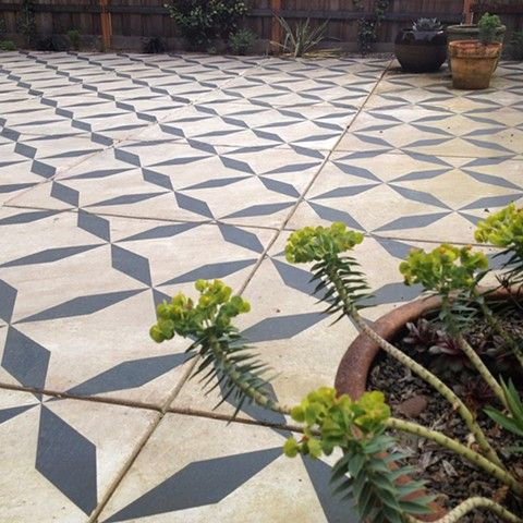 hand painted pattern cement slab patio - Patio Refinishing Ideas