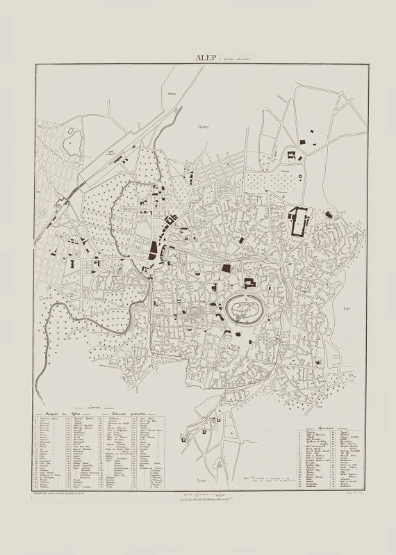 ANTIQUE ALEPPO MAP Antique Map of Aleppo by EncorePrintSociety
