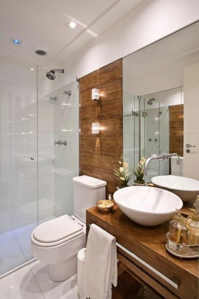 Badgestaltung Ideen Moderne Bader Badezimmer In Weis Und Braun Holz Blumen