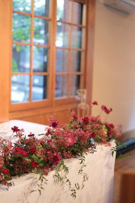 秋の装花 小さい頃、お花屋さんになりたかった夢 すいぎょく様へ : 一会 ウエディングの花