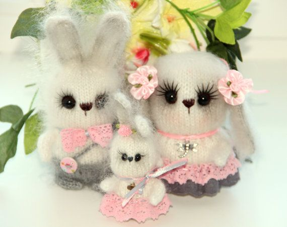 Knit bunny family white bunnies toys gift for a child Easter