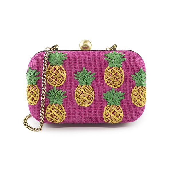 Ananas (Pineapple) raffia/Straw clutch bag | 100% Vegan Handbags | 100% Cute, Fun, and Whimsical | Chelsi Reis | Accessories | Beach & Travel