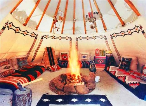 Ralph lauren rrl ranch interior of a guest teepee for American indian design and decoration