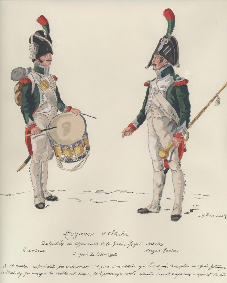Italy; Royal Guard, Battalion of Chasseurs a Pied, Drummer & Sergeant Drummer, c.1809 by H.Boisselier