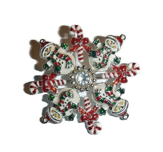 Vintage SNOWMAN Brooch & Pendant Snowflake by PopcornVintageByTann