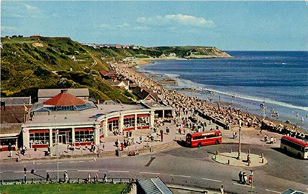 Postcard from 1960s showing #Scarborough #North_Bay, showing the #Corner_Cafe, which has now been replaced by flats