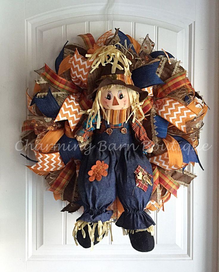 Fall Wreath, Scarecrow Wreath, Large Fall Wreath, Thanksgiving Wreath, Autumn Wreath, Fall Scarecrow Wreath, Fall Decor, Front Door Decor by CharmingBarnBoutique on Etsy
