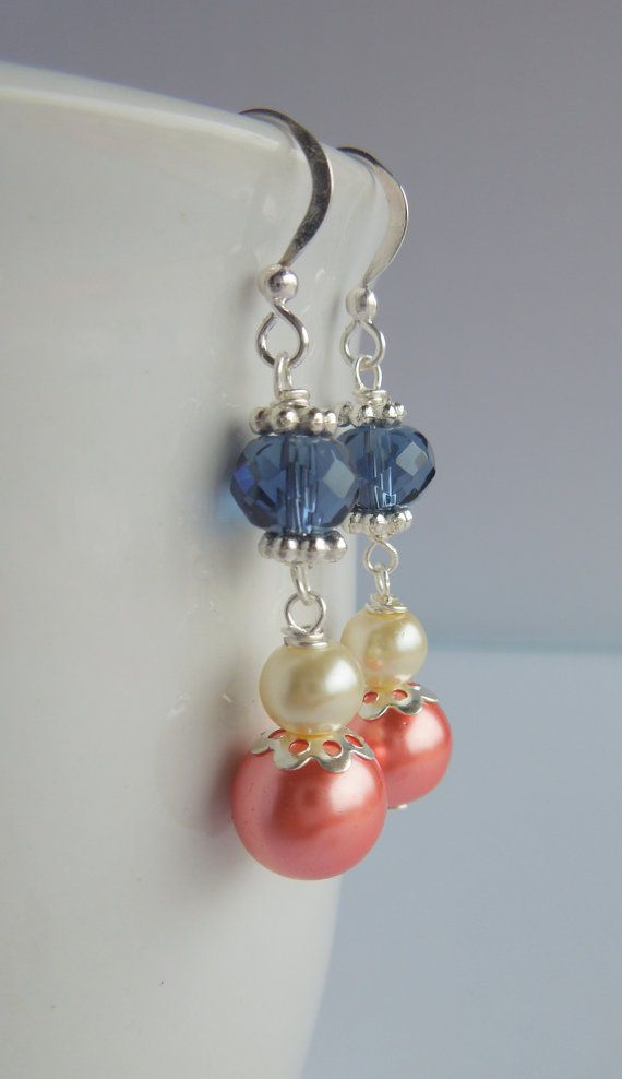 Set of 5 Coral and Navy Earrings Pearl Drop Bridesmaids Dark Blue, Midnight Blue Cream Silver Wedding Jewelry Gift