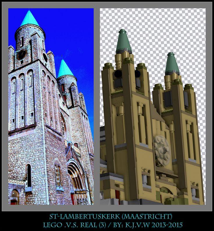 [ st-lambertuskerk lego .v.s. real part 3 ]  3 of the 19 photo's from my collage of St-Lambertuskerk (Maastricht) ((Non-lego))