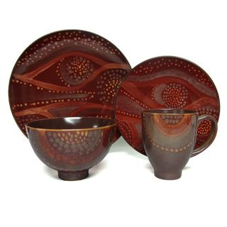 Red Vanilla Organic Brown 16-piece Dinner Set | Overstock.com Shopping - Great Deals on Red Vanilla Casual Dinnerware