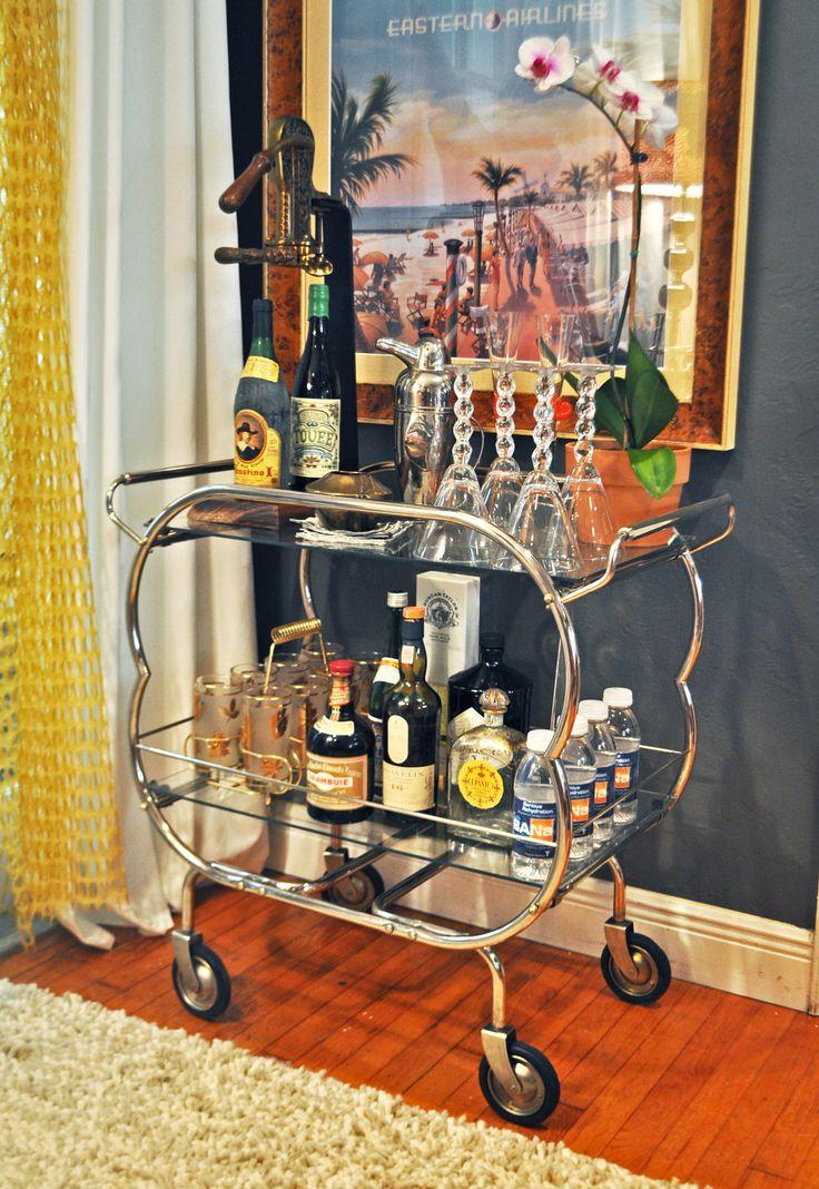 Mid century bar cart and wine opener toys pinterest - Mobile bar vintage ...