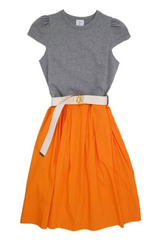 orange skirt; grey shirt with cutouts